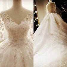 White/Ivory Lace Bridal Gown Wedding Dress Custom Size 4 6 8 10 12 14 16 18 20 F