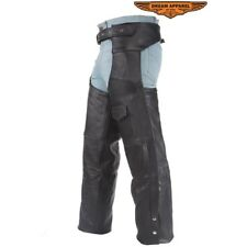 Mens Motorcycle Black Leather Chaps With Liner Sizes 4XL To 6XL