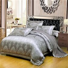 Luxury 6pc. Silver Jacquard Silk Cotton 400TC Duvet Cover Bedding Set