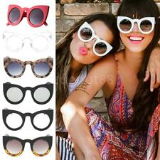 Women Retro Plastic Frame Mirrored Sunglasses Oversized Cat Eye Glasses Eyewear