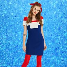 Vintage 1960s Red White and Blue Mini Go Go Mod Dress 60s