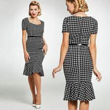 Vintage 1940s 50s Houndstooth Mermaid Dress pinup all sizes 1950s rockabilly