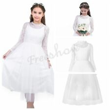 Girls Floral Lace Mesh Princess Pageant Wedding Birthday Party Dress Holiday NEW