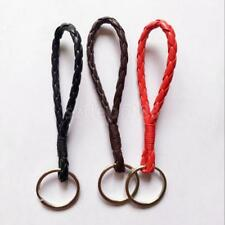 10pc 12cm Leather Keychain Holder Keyring Key Car Chain Rings Women Men Jewelry