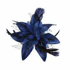 Navy Blue Spotted Net Flower and Feather Bridal Hair Comb Fascinator