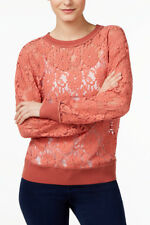 NWT DKNY CORAL PINK VINTAGE LACE SWEATSHIRT TOP BLOUSE XS, S