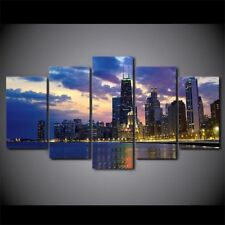 Chicago Cityscape Sunset Evening Panel Wall Art Canvas print poster picture