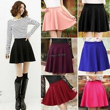Women Candy Color Stretch Waist Plain Skater Flared Pleated Mini Skirt OO55
