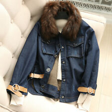 17 winter cotton padded jacket female raccoon fur collar denim jacket warm coat