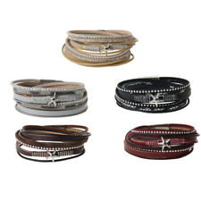 Leather Wrap Wristband Cuff Punk Star Rhinestone Multilayer Bracelet Bangle