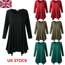Plus Size Women Casual Loose Long Sleeve Swing Dress Party Holiday Mini Dress