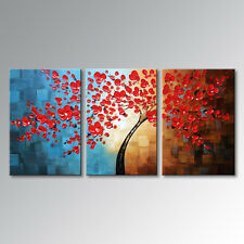 Handmade Red Plum Blossom Floral Canvas Wall Art Abstract Flower Oil Painting