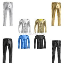 Men Sexy Faux Leather T-Shirt  Tight Pants V-neck Tops Long Sleeve Slim Clubwear