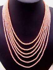 """SALE 3-4MM pink Coral 18-25""""  6 Strands NECKLACE WITH Pink flower CLASP-ne5671"""