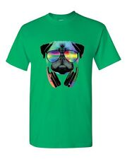Dj Pug Neon Headphones Men T-Shirt Irish Green Cotton Funny Party Club New Tees