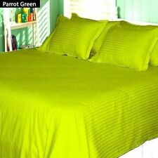 1000 TC PARROT GREEN STRIPE SCALA EGYPTIAN COTTON UK BED SHEET SET/DUVET/FITTED