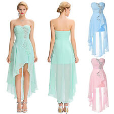 Womens Chiffon Evening Party Cocktail Strapless Bridesmaid Wedding Prom Dresses