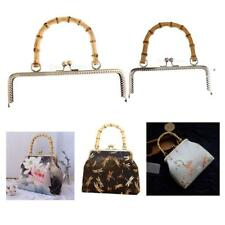 New Fashion Bamboo Handle Sewing Purse Handbag Coins Bags Metal Kiss Clasp Frame