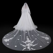 2T 3M Cathedral Wedding Veil White/Ivory Tulle Lace Crystal Bridal Veils 0150-1