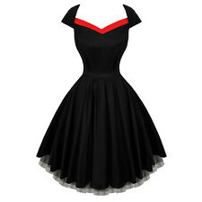 50'S 60'S ROCKABILLY DRESS Vintage Flare Swing Pinup Housewife Party Dress Gown