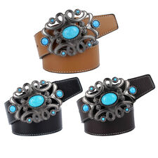 Adjustable Belt Mens Genuine Leather Turquoise Gem Beads Buckle Waistband
