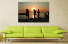 Canvas Poster Wall Art Print Decor Fishing Dusk Dawn Travel Sunset