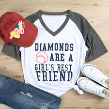 Womens Letters Printed Shirt V Neck T-shirts Tops Short Sleeve Tee Blouse