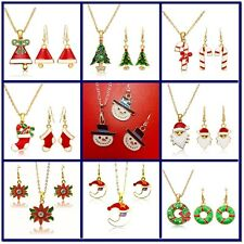 x3 Piece Gold Plated Enamel Alloy Christmas Holiday Necklace Pendant Earring Set