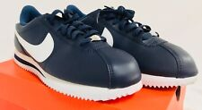 Nike Men's Cortez Basic Leather Casual Shoes, Navy/White, Size 8
