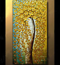 Modern Abstract Canvas Wall Art hand Painted Oil Painting,Golden Tree(No Frame
