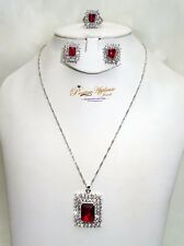 Red Simply Beautiful Earring Necklace Ring Jewellery Set Christmas Gift for lady