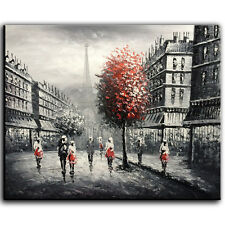 Oil Painting on Canvas Eiffel Tower Wall Art Hand Painted Landscape Modern Decor