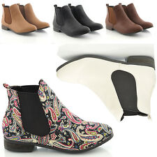 New Womens Low Heel Flat Chelsea Vintage Pixie Booties Ladies Ankle Boots Size