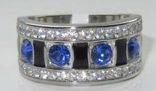 TK3141PB BAND SIMULATED DIAMOND RING CLEAR STAINLESS STEEL SAPPHIRE BLUE PAVE