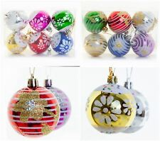 NEW 6cm Hand Painted Christmas Baubles Decoration Glitter Hanging Tree Decor