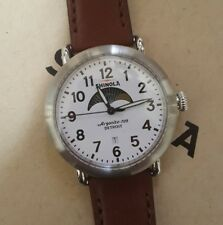 SHINOLA Runwell Watch 41mm white moonface & Silver Bazzal & Brown Leather Band.