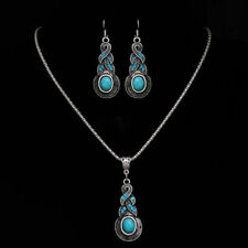 Tibetan Silver Blue Turquoise Chain Crystal Pendant Necklace Set Fashion Jewelry