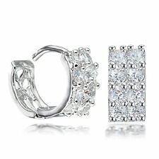 White Gold Filled Crystal Round Hoop Huggie Earring AB081