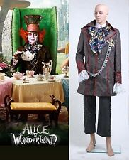 Alice in Wonderland Johnny Depp Mad Hatter Costume Set Size Halloween cosplay