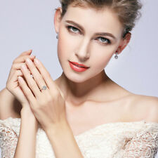 Elegance 925 Sterling Silver Round Shape Clear CZ Finger Ring Women Jewelry Gift