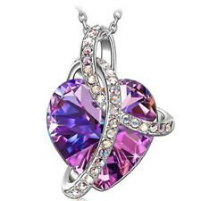 Fashion Pendant Necklace Anniversary Gift For Women Love Heart SWAROVSKI Crystal