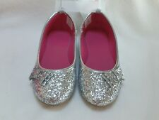 NEW Gymboree Girls Silver Glitter Bow Ballet Flats Shoes sz 2 Christmas Holiday