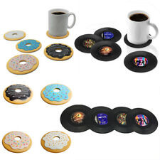 4x Round Donut Vintage CD Coasters Record Cup Cushion Drink Vinyl Placemat