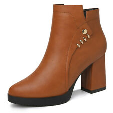 Girls Womens Synthetic Round Toe Platform High Heel Ankle Boots Shoes Zip Buckle
