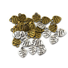 50pcs Silver/Bronze Plated MADE WITH LOVE Heart Charms Pendants Jewelry Parts*~*