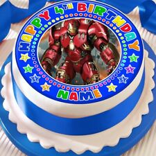 IRONMAN BLUE PERSONALISED CAKE TOPPER PRECUT DECORATION EDIBLE HAPPY BIRTHDAY
