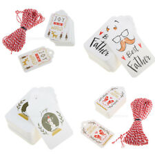 50x Vintage Paper Christmas Gift Tags Hanging Cards Decorations with Twine