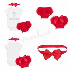 NEW Infant Baby Girls Outfit Romper Bloomers Headband Set Christmas Party Xmas