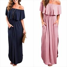 Womens Long Maxi Dress Off the Shoulder Ruffle Side Split Evening Size S - XL