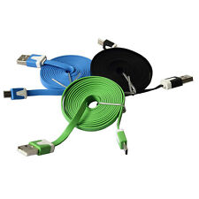 1/2/3M Noodle Flat Micro USB Sync Data Charger Cable Cord For Smart Phone IY